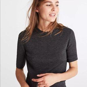 Madewell Cream Short Sleeve Ribbed Sweater Top